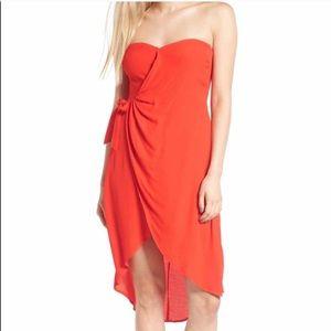 Astr Red Strapless Tube Wrap Dress M